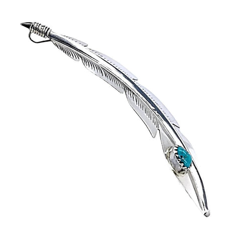 Native American Necklaces & Pendants - Navajo Turquoise Sterling Silver Feather Pendant - Billy Long - Native American