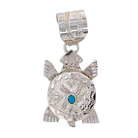 Native American Necklaces & Pendants - Navajo Turtle Hand-Stamped Sterling Silver  Pendant - Alonzo Mariano