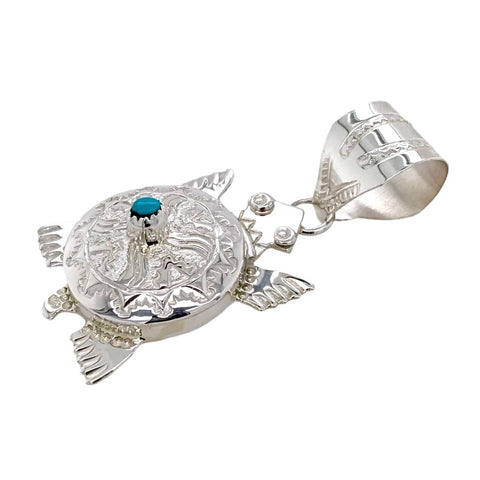 Image of Native American Necklaces & Pendants - Navajo Turtle Hand-Stamped Sterling Silver  Pendant - Alonzo Mariano