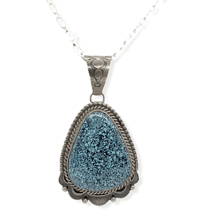 Native American Necklaces & Pendants - Old Style Navajo Spider Web Kingman Turquoise Pendant