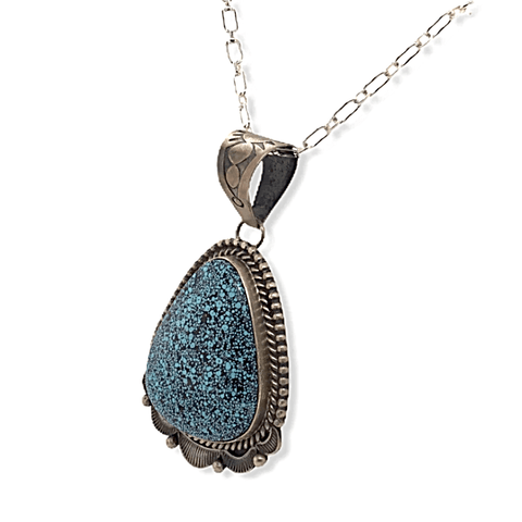 Image of Native American Necklaces & Pendants - Old Style Navajo Spider Web Kingman Turquoise Pendant