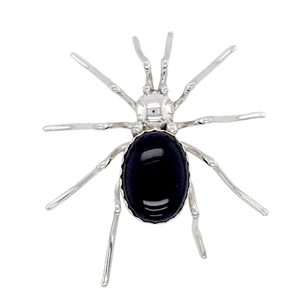 Native American Necklaces & Pendants - Onyx Black Widow Spider Brooch Pin - Navajo