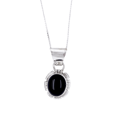 Native American Necklaces & Pendants - Onyx Sterling Silver Necklace - Shelia Becenti, Navajo