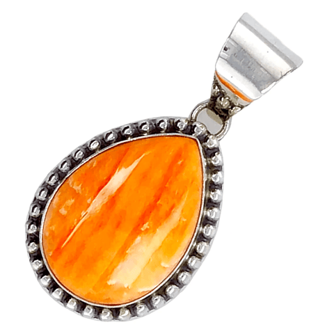 Image of Native American Necklaces & Pendants - Orange Spiny Oyster Teardrop Pendant - Samson Edsitty Navajo