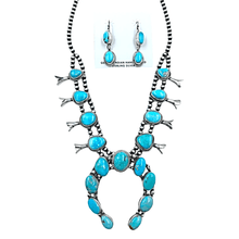 Load image into Gallery viewer, Native American Necklaces & Pendants - Oval Kingman Turquoise Squash Blossom Set  - Ella Peters Navajo