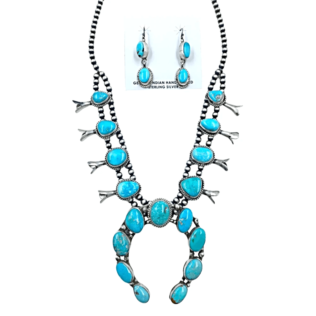 Native American Necklaces & Pendants - Oval Kingman Turquoise Squash Blossom Set  - Ella Peters Navajo
