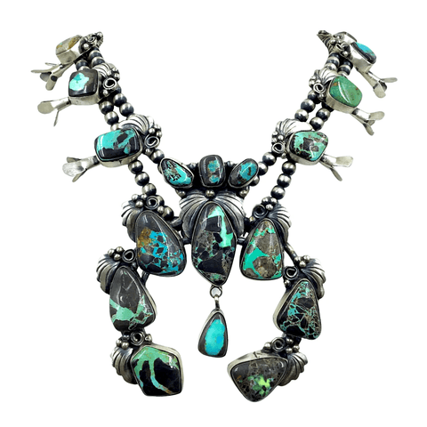 Native American Necklaces & Pendants - Pawn Carico Lake  Sterling Silver Squash Blossom Necklace