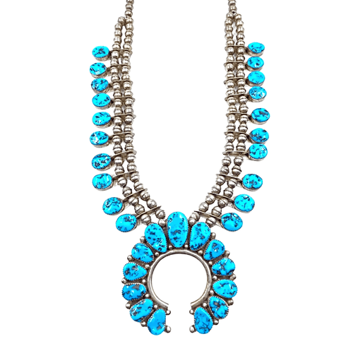 Image of Native American Necklaces & Pendants - Pawn Sleeping Beauty Turquoise Squash Blossom Necklace