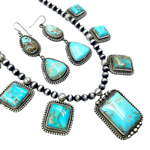 Native American Necklaces & Pendants - Royston Turquoise L Necklace  Set - Kathleen Chavez - Navajo