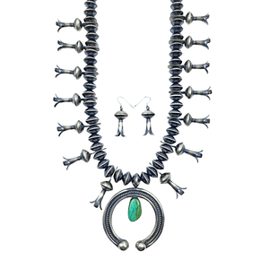 Native American Necklaces & Pendants - Royston Turquoise Oxidized Silver Squash Blossom Set - Navajo