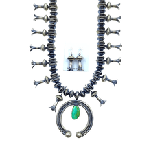 Load image into Gallery viewer, Native American Necklaces & Pendants - Royston Turquoise Oxidized Silver Squash Blossom Set - Navajo