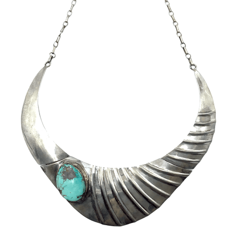 Image of Native American Necklaces & Pendants - Sensational Silver And Turquoise Navajo Pawn Necklace