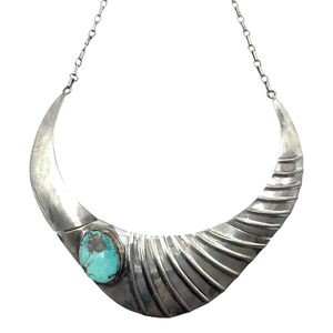 Native American Necklaces & Pendants - Sensational Silver And Turquoise Navajo Pawn Necklace