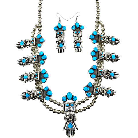 Image of Native American Necklaces & Pendants - Sleeping Beauty Turquoise Kachina Squash Blossom Necklace Set - Navajo