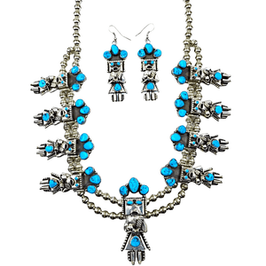 Native American Necklaces & Pendants - Sleeping Beauty Turquoise Kachina Squash Blossom Necklace Set - Navajo