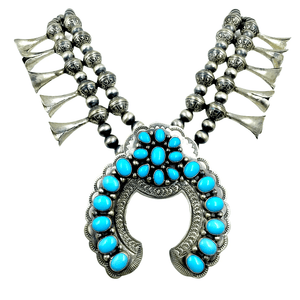 Native American Necklaces & Pendants - Sleeping Beauty Turquoise Squash Blossom Necklace - B. Johnson, Navajo