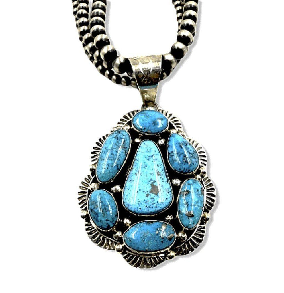 Native American Necklaces & Pendants - SOLD Kingman Turquoise N.ecklace On 3 Strand Sterling Silver Navajo P.earl Beads
