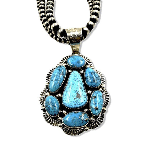 Image of Native American Necklaces & Pendants - SOLD Kingman Turquoise N.ecklace On 3 Strand Sterling Silver Navajo P.earl Beads