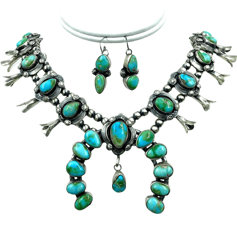 Image of Native American Necklaces & Pendants - SOLD Sonoran Gold Turquoise S.quash Blossom N.ecklace Set - Lorenzo Juan - Navajo