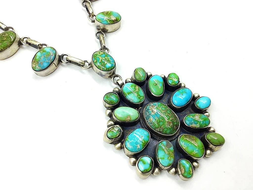 Native American Necklaces & Pendants - Sonoran Gold Turquoise Cluster Necklace - B. Johnson, Navajo