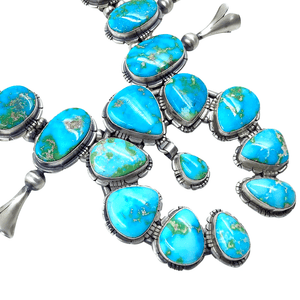 Native American Necklaces & Pendants - Sonoran Gold Turquoise Squash Blossom Set - Samson Edsitty, Navajo