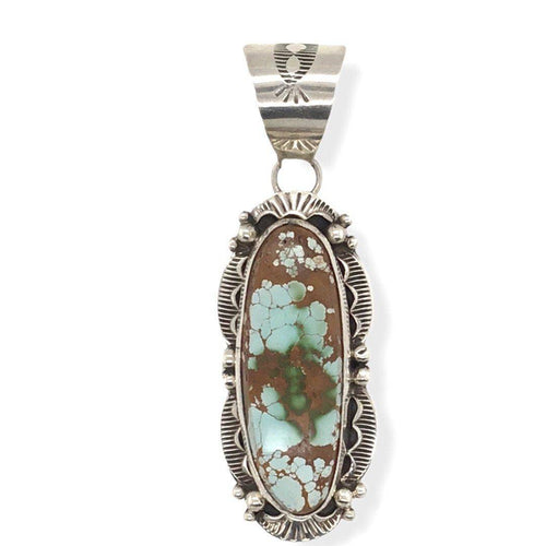 Native American Necklaces & Pendants - Stamped Setting Navajo Royston Turquoise Pendant