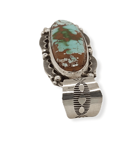 Image of Native American Necklaces & Pendants - Stamped Setting Navajo Royston Turquoise Pendant