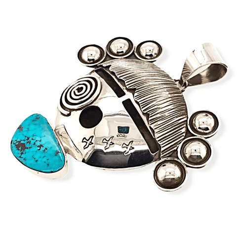 Image of Native American Necklaces & Pendants - Sterling Silver And Turquoise Decorative Face Pendant - Alex Sanchez
