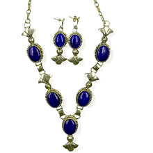 Load image into Gallery viewer, Native American Necklaces & Pendants - Sterling Silver Navajo Lapis Lazuli Necklace Set