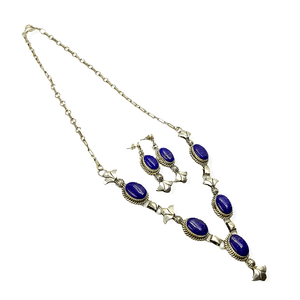 Native American Necklaces & Pendants - Sterling Silver Navajo Lapis Lazuli Necklace Set