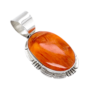 Native American Necklaces & Pendants - Striking Oval Orange Spiny Oyster Pendant - Samson Edsitty Navajo