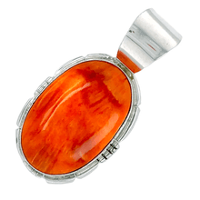 Load image into Gallery viewer, Native American Necklaces & Pendants - Striking Oval Orange Spiny Oyster Pendant - Samson Edsitty Navajo