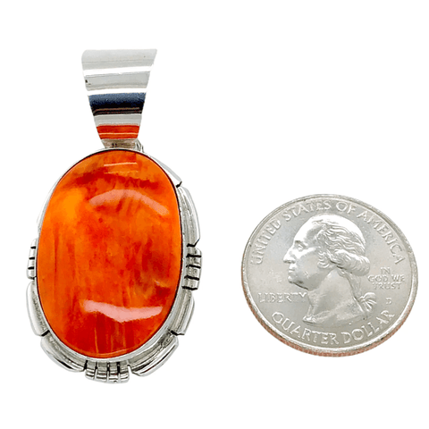 Image of Native American Necklaces & Pendants - Striking Oval Orange Spiny Oyster Pendant - Samson Edsitty Navajo