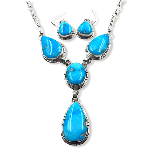Native American Necklaces & Pendants - Teardrop Kingman Turquoise Necklace Set - Navajo