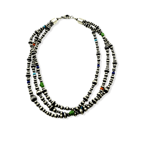 Image of Native American Necklaces & Pendants - Three Strands Of Navajo Pearls With Multi-Colored Beads