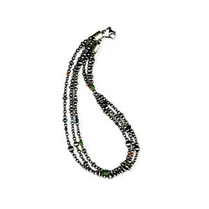 Native American Necklaces & Pendants - Three Strands Of Navajo Pearls With Multi-Colored Beads