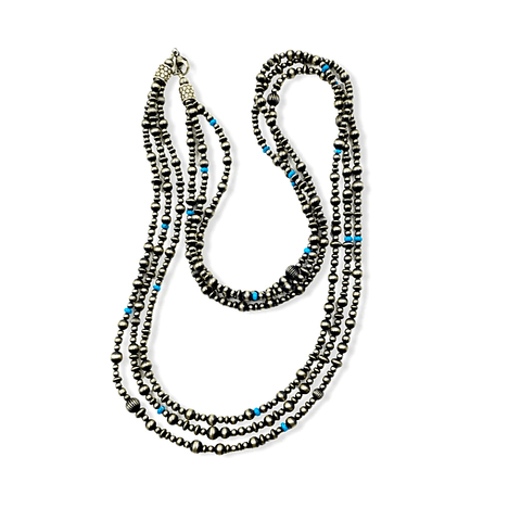 Image of Native American Necklaces & Pendants - Three Strands Of Navajo Pearls With Turquoise Beads