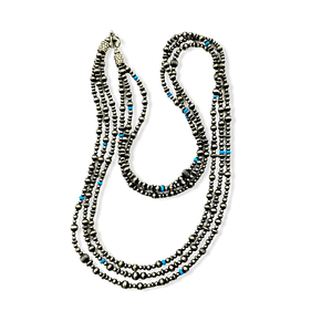 Native American Necklaces & Pendants - Three Strands Of Navajo Pearls With Turquoise Beads