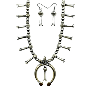 Native American Necklaces & Pendants - Traditional Navajo Sterling Silver Squash Blossom Set