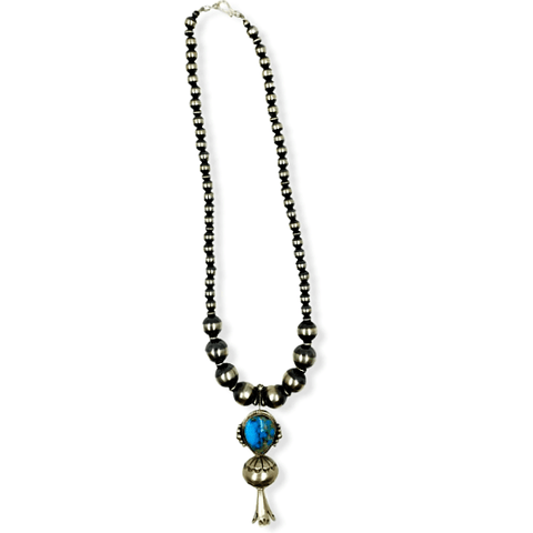 Image of Native American Necklaces & Pendants - Turquoise Blossom Necklace On Sterling Silver Navajo Pearl Beads