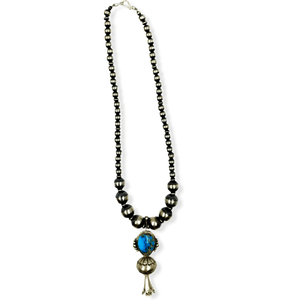 Native American Necklaces & Pendants - Turquoise Blossom Necklace On Sterling Silver Navajo Pearl Beads