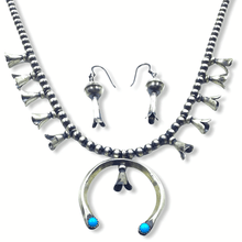 Load image into Gallery viewer, Native American Necklaces & Pendants - Turquoise & Silver Squash Blossom Necklace Set - Paul Livingston -Small Size