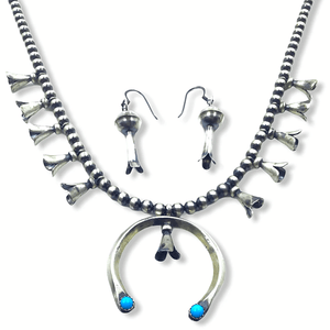 Native American Necklaces & Pendants - Turquoise & Silver Squash Blossom Necklace Set - Paul Livingston -Small Size