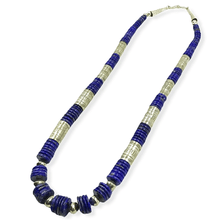 Load image into Gallery viewer, Native American Necklaces & Pendants - Wayne Aguilar Lapis And Silver Beads Necklace  - Santo Domingo Pueblo