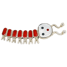 Load image into Gallery viewer, Native American Necklaces & Pendants - Zuni Coral Inlay Caterpillar Brooch Pin