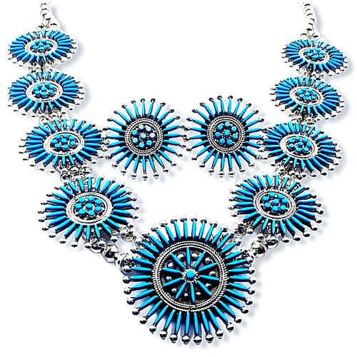 Native American Necklaces & Pendants - Zuni Needlepoint Squash Blossom Necklace Set - I. Booqua