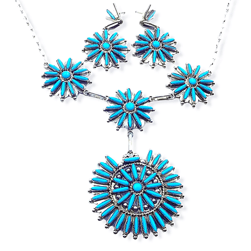Native American Necklaces & Pendants - Zuni Needlepoint Turquoise Necklace Set