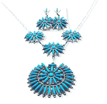 Load image into Gallery viewer, Native American Necklaces & Pendants - Zuni Needlepoint Turquoise Necklace Set
