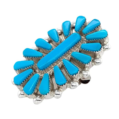 Image of Native American Necklaces & Pendants - Zuni Petit Point Sleeping Beauty Turquoise Cluster Pendant & Pin - Vera Halusewa
