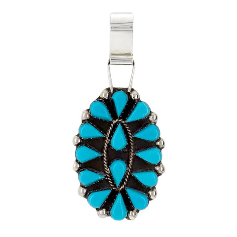 Native American Necklaces & Pendants - Zuni Petit Point Sleeping Beauty Turquoise Cluster Pendant - Veronica Martza